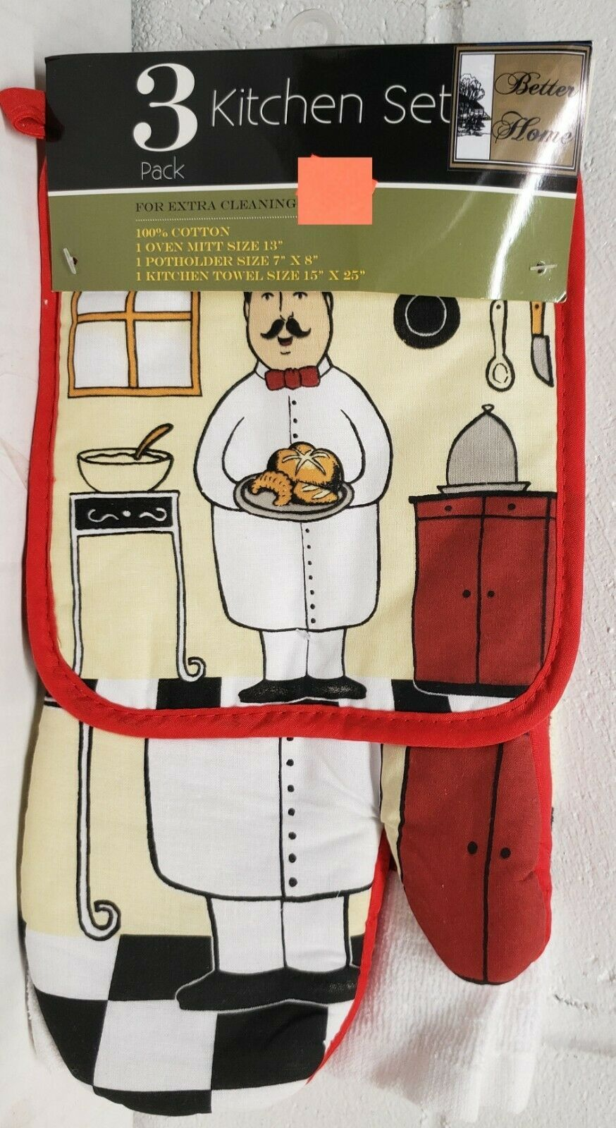 Primary image for 3 pc KITCHEN SET: 1 POT HOLDER, 1 TOWEL & 1 OVEN MITT, FAT CHEF WITH PASTRIES,BH