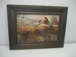 Picture Painting Faith At The Water's Edge Wood Frame Baby Moses by Anne... - $37.36