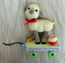 Hallmark Cards Ornament Grandchilds First Christmas Dated 1984 Baby Lamb... - $14.80