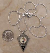 "18"" pewter & enamel PITTSBURGH STEELERS pendant STERLING silver necklace   - €16,13 EUR"