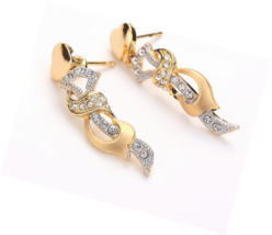 24K Gold Plated Unique Golden & Silver Two Tone Hollow Tied Flower Set - $26.18