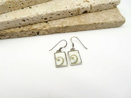 Retro 925 Sterling Silver White Gold Swirl Rectangle Dangle Earrings H56 - $19.99