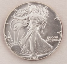 1987 Silver Eagle $1 Coin One Troy Ounce Uncirculated Brilliant - $40.19