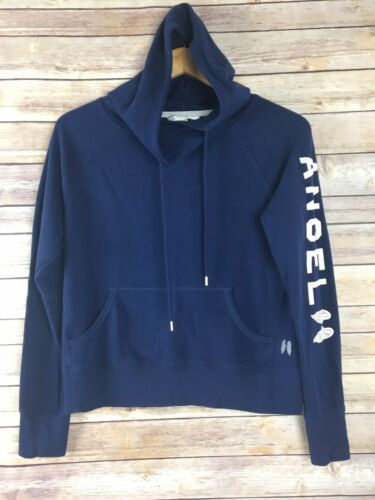 Victorias Secret S Small Hoodie Blue Angel Wing Sleeve Front Pouch Sweatshirt