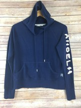 Victorias Secret S Small Hoodie Blue Angel Wing Sleeve Front Pouch Sweat... - $22.54
