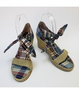 Tommy Hilfiger Shoes Multi-Color Plaid Fabric Upper Tie Wedge Womens Siz... - $44.50