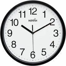 "Black & White 10"" Round Wall Clock, Silent Non-Ticking, Modern Classic, ... - $14.74"