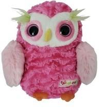 "Aurora Whohoots Pink Owl Plush Stuffed Animal 8"" Tall Green Eyebrows Yel... - $9.89"