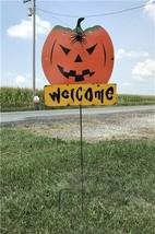 Metal Pumpkin Yard Stake, Halloween Yard Art, Jack O Lantern Yard Stake ... - $120.00