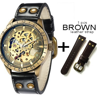 Men's Vintage Skeleton Mechanical Wrist Watch With Leather Strap Analog Luminous
