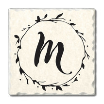 """Highland Home 4 Scripted Monogram Coasters""""M"""" w/wire holder - $23.99"""