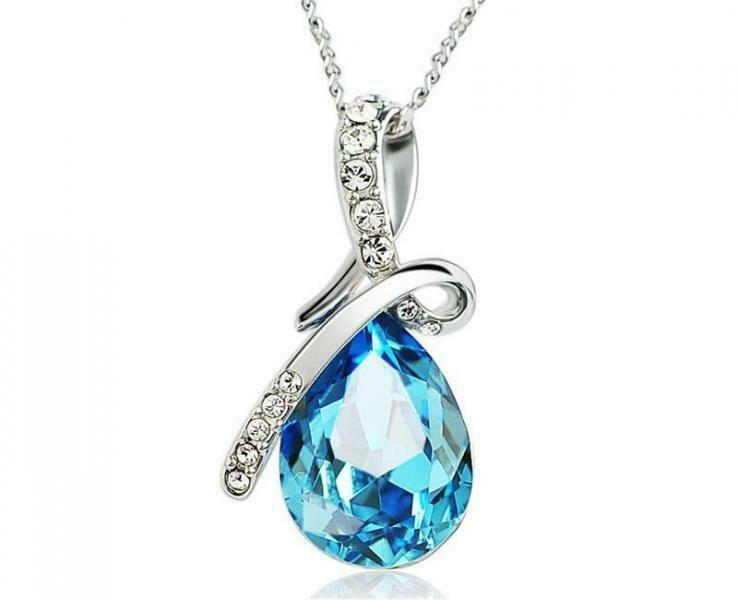 18K White Gold Plated Necklace with Teardrop Swarovski Crystal -choose color