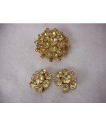 Eisenberg Brooch and Earring Set Yellow Stones Stunning - $123.75