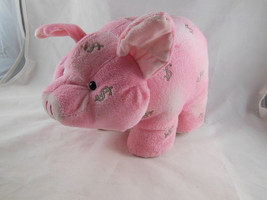 Dan Dee Plush Pink with Silver embroidered Dollar signs Pig Piggy Bank 7... - $19.79