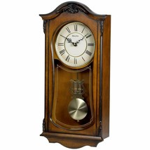"Nice Wood Grandfather Style Chiming Wall Clock Walnut Roman Numeral 19"" ... - $195.00"