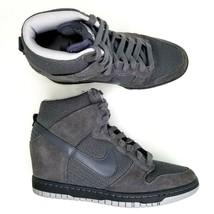 Nike Dunk Sky High Suede Wedge Shoes Womens Size 8 Hidden Heel Wolf Gray - £75.01 GBP