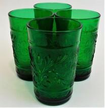4 Anchor Hocking Sandwich Glass Forest Green Flat Juice Glasses Vintage - $29.70