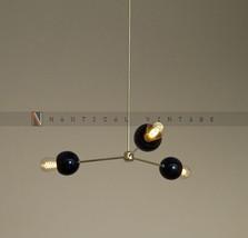 Mid century modern brass ball chandelier light - 3 Brass Shade Chandelier - £137.37 GBP