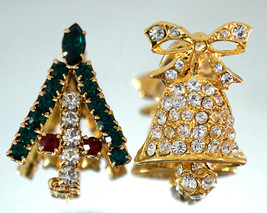Christmas Tree Brooch with Swarovski Crystals & Bell Lapel Pin w/ moving... - $25.99