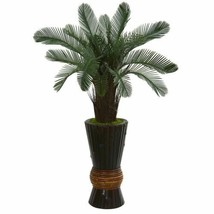 Multicolor 3.5? Cycas Artificial Tree in Bamboo Planter UV Resistant (Indoor/Out - $185.88