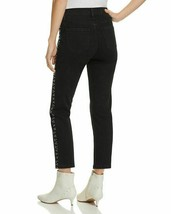 Mwt $198 Pistola Women'S Black High Rise Beaded Denim Straight Leg Jeans Size 25 image 2