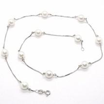 Collar Oro Blanco 18K, Perlas Blancas 7.5 mm, Akoya Japonés, Cadena Veneciano image 1