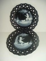 Westmoreland Artist Signed Mary Gregory Plates Black Glass Forget Me Not... - $34.99