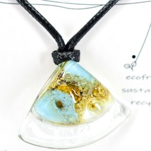 Handmade Recycled Fused Glass Green Blue & Brown Triangle Necklace Made Ecuador image 2