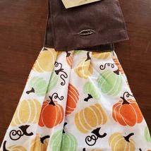 Kitchen Tie Towels, set of 2, Pumpkin Spice design, fall kitchen decor tea towel image 5