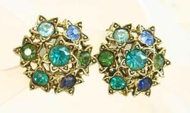 Elegant Gold-tone Baroque Multi-color Rhinestone Clip Earrings 1960s vin... - $12.30