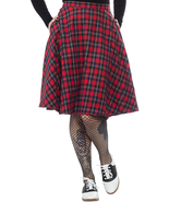 Sourpuss Bonnie Gothic Punk Rock Retro 50s Rockabilly Red Plaid Skirt SPSK96 - $49.49