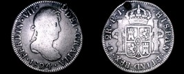 1824-PTS PJ Bolivia 2 Reales World Silver Coin - Ferdinand VII - Holed - $74.99