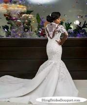 Bling Bling Satin Mermaid Wedding Dress with Crystals Beaded Sheer Long Sleeves image 2