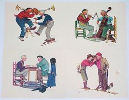 "Norman Rockwell - Set Of 4 Vintage Embossed Prints - ""Old Timers"" - $12.00"