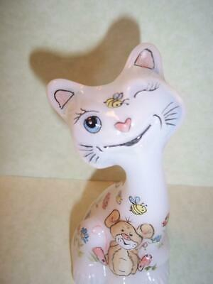 """Fenton Glass 4"""" Whimsical Spring Floral Mouse Happy Kitty Cat FAGCA Ltd Ed of 20"""