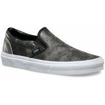 Vans Classic Slip On (Cracked Leather) Black White Womens Casual Shoes - $51.95