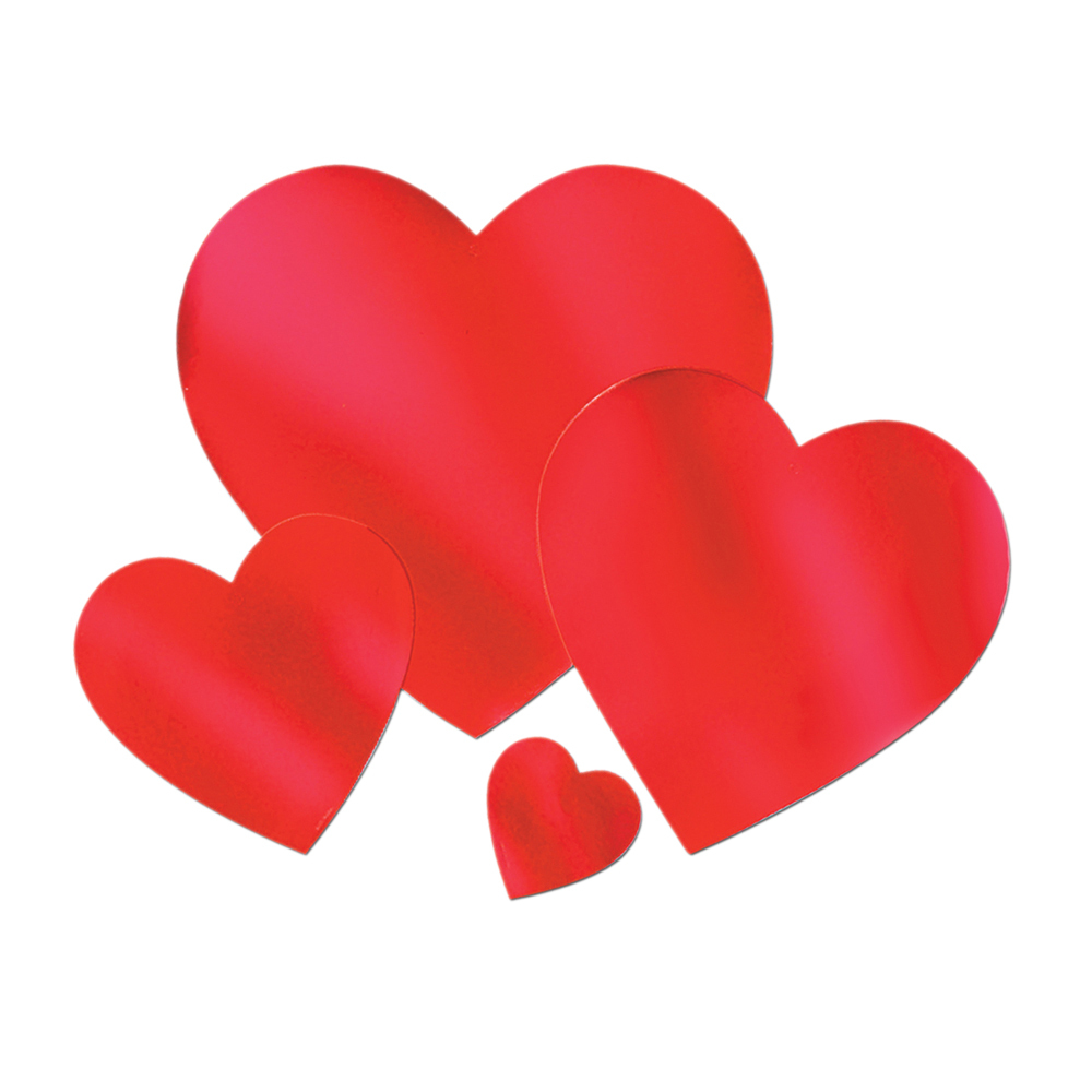 "Beistle Valentines Party Supplies Foil Heart Cutout 15"" - 24 Pack"