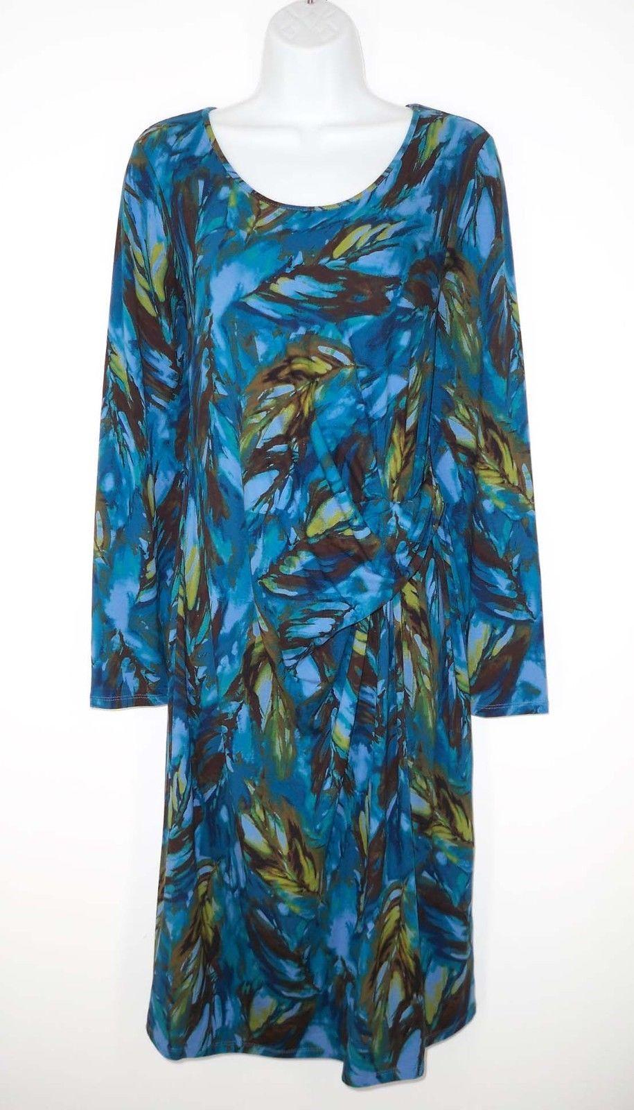 58702d23168 S l1600. S l1600. Previous. J. Jill Wearever M Tall Medium Faux Wrap Dress  Feather Print Knot Twist Detail