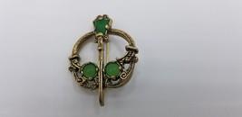 Vintage Emerald Stones Wand Pin / Brooch W/ Gold Gun Metal Tone Geometri... - $17.38