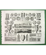 HISTORY Greek Roman Tombs Urns Coins Etruscan Tombs Assos - 1844 Antique... - $12.15