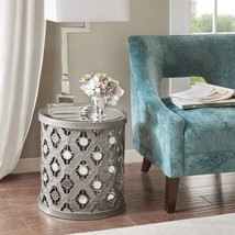 Drum Accent Table Transitional Round Iron Mirror Top Quatrefoil Sofa Liv... - €100,12 EUR