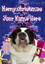 Saint Bernard Dog Merry Christmas Personalised Greeting Card Xmas codeXM224 - $3.93