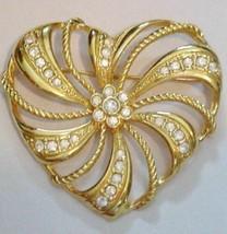 Treasured AVON Rhinestone Heart Shaped Brooch Pin  - $16.78