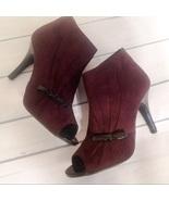 New Directions Brown Faux Suede Peep Toe Heels - $19.99