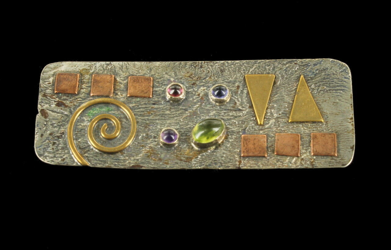 Primary image for Vintage Mid Century Mixed Metals Peridot Amethyst Garnet Iolite Geometric Pin 2""