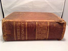 Antique Leather Bound Webster Dictionary  image 5