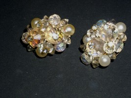 Earrings Clip On Pearl Jewel Diamond Costume Jewelry Vintage 1950's 1960's - $24.99