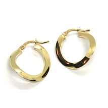 18K YELLOW GOLD CIRCLE HOOPS ONDULATE EARRINGS 20 MM, THIN SECTION 1 MM, ITALY image 1