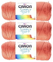 Bulk Buy: Caron Simply Soft 100% Acrylic Yarn 3-Pack ~ PERSIMMON # 9754 ... - $26.31