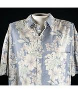 Cooke Street Inversa Stampa 2XL Ibisco Fiori Foglie Blu Pallido Camicia ... - $31.18